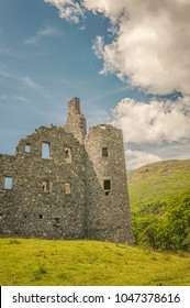 DALMALLY, SCOTLAND. KILCHURN CASTLE - July 08, 2013: Kilchurn Castle, a ruined 15th century structure on the banks of Loch Awe, in Argyll and Bute, Scotland on July 08, 2013.