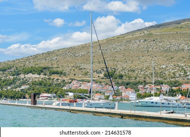 DALMATIA, CROATIA - AUG 24, 2014: Yacht boat near the Coast of Croatia, on the Adriatic Sea. Catchment areaof the Adriatic Sea is 235,000 km2 (91,000 sq mi)