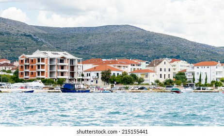 DALMATIA, REGION OF SPLIT, CROATIA - AUG 20, 2014: Town Seget in Dalmatia, the Adriatic coast. Coast of the Adriatic Sea in Dalmatia became a popular destination for millions of tourists