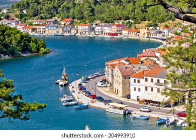Dalmatian fisherman village of Novigrad aerial view, Croatia