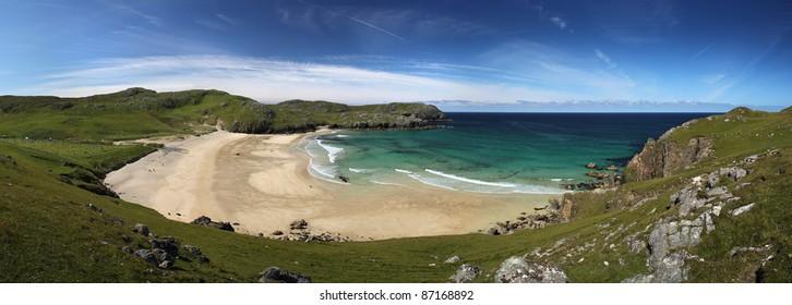 Dalmore beach on Lewis, Scotland in summer sun
