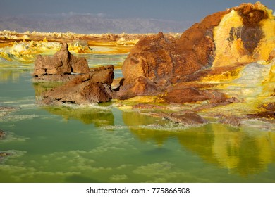 Dalol, Dankakil Depression.  Volcanic hot springs of Ethiopia. Earth's lowest land volcano.