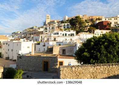 Dalt Vila fortress city in Ibiza Town, Ibiza at dusk