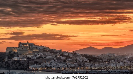 Dalt Vila , Ibiza , at sunset with dramatic sky colours