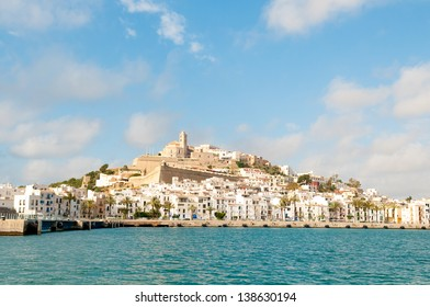 Dalt Vila and Ibiza Town, Ibiza viewed from a ferry in the Balearic Sea