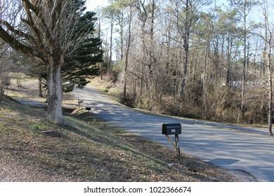 Dalton, GA USA 1/26/2018 Road with no traffic and sunny day