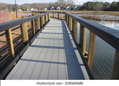 Dalton, GA USA 2/18/2018. Long bridge at the Lakeshore Dog Park