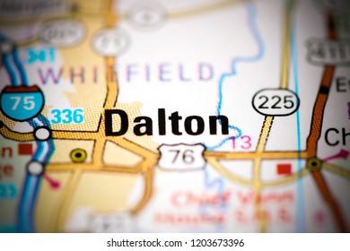 Dalton. Georgia. USA on a map
