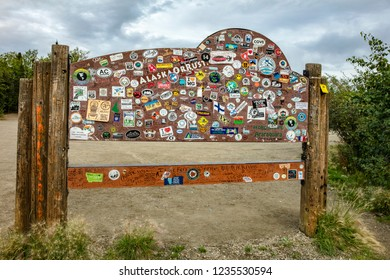 Dalton Highway, AK - Aug 19, 2018: A view of the back of the BLM Arctic Circle Monument Sign on Dalton Highway in Alaska, USA
