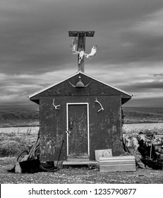 Dalton Highway, AK - Aug 19, 2018: A view of the tools barrack from the Happy Valley Camp on Dalton Highway in Alaska, USA.