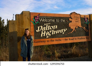 Dalton Highway, Alaska, United States - October 13, 2013: Sign board for the start of the James Dalton Highway from Livengood Alaska to the Arctic Ocean