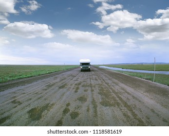 Dalton Highway, Alaska, USA. Main and only haul road, connecting Fairbanks with Prudhoe Bay