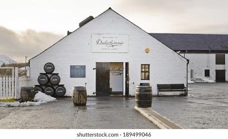 DALWHINNIE, SCOTLAND - DECEMBER 29: exterior of Dalwhinnie Distillery on December 29, 2013 in Dalwhinnie, Scotland. Dalwhinnie Distillery was founded in the late 1890s.