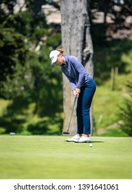 DALY CITY, CA/U.S.A. - MAY 2, 2019: Ladies golfer Sarah Schmelzel hits a putt during the Mediheal Golf Tournament on the LPGA tour.  Schmelzel tied for 40th place.