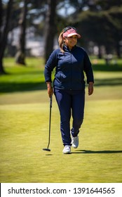 DALY CITY, CA/U.S.A. - MAY 2, 2019: American golfer Lizette Salas walks to her next shot during the Mediheal Golf Tournament on the LPGA tour.  Salas tied for 18th place.