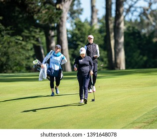 DALY CITY, CA/U.S.A. - MAY 2, 2019: Chinese golfer Shanshan Feng walks to her next shot during the Mediheal Golf Tournament on the LPGA tour.  Feng tied for 15th place.