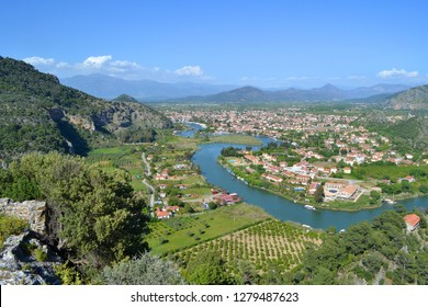 Dalyan City and Dalyan Channel Panoramic Photo from above