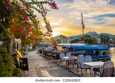 Dalyan, Greece - October 31, 2018 : Riverside view in Dalyan Town of Turkey