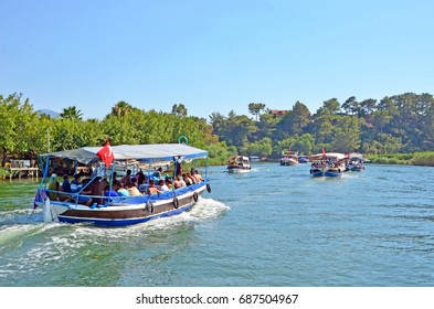 Dalyan, Mugla, Turkey - July 23, 2017- Touristic River Boats with tourists in the Dalyan River