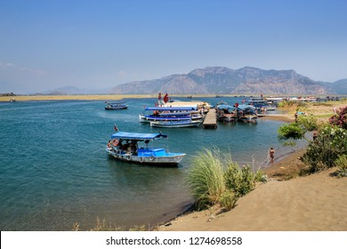 Dalyan, Mugla / Turkey - July 7 2013: Dalyan Canal and Iztuzu (Caretta caretta) Beach, daily sightseeing boats