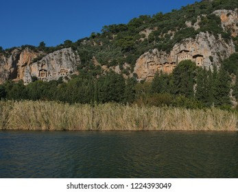 dalyan river rock tombes lycian antic graves from ancient times dalyan turkey