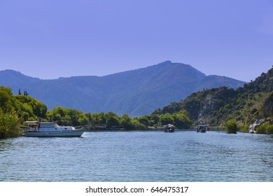 The Dalyan River with tourist boats in the straits of the river