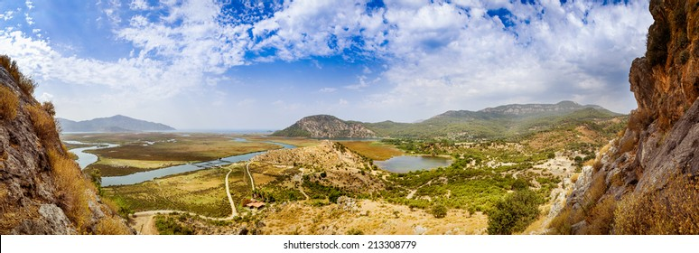 Dalyan river valley panoramic landscape
