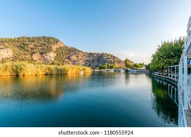 Dalyan Town riverside view in Turkey. Dalyan is populer tourist destination in Turkey.