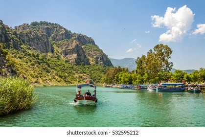 Dalyan, Turkey - April 05, 2013 : Dalyan canal view. Dalyan is populer tourist destination in Turkey.