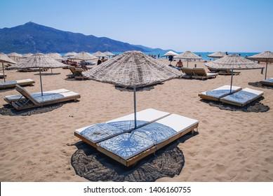 Dalyan, Turkey - August 26, 2007: Iztuzu Beach near Dalyan town in Mugla Province, between Mediterranean Sea and Dalyan River