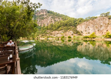 Dalyan, Turkey - September 13, 2018 : Dalyan Town riverside view in Turkey. Dalyan is populer tourist destination in Turkey.