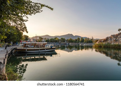 Dalyan, Turkey - September 14, 2018 : Dalyan Town riverside view in Turkey. Dalyan is populer tourist destination in Turkey.