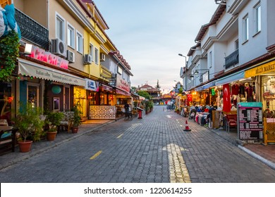 Dalyan, Turkey - September 14, 2018 : Dalyan Town colorful street view in Turkey. Dalyan is populer tourist destination in Turkey.