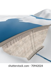 Dam in an abstract, stylized landscape