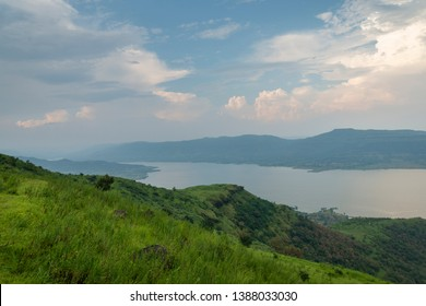 Dam Backwater near Satara city seen from Kaas Plateau,Satara,Maharashtra,India