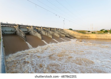 Dam Doors are releasing water trapped in the river.