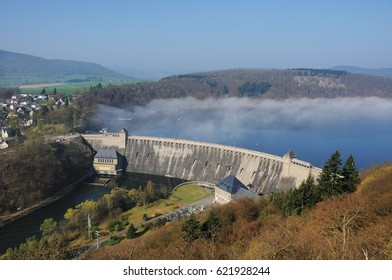 Dam of the Edersee with Fog