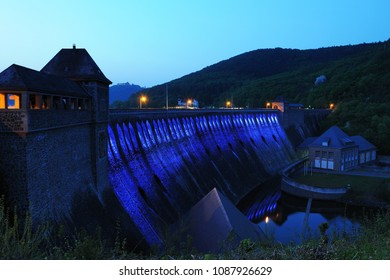 Dam of the Edersee Illuminated at twilight