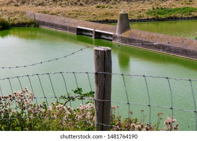 Dam, fence and green water in Veere. The Netherlands