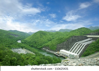 Dam in green forest : water plant power dam energy