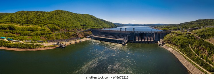 Dam of hydroelectric power station in Russia, Siberia, on the Yenisei River, a picture from height