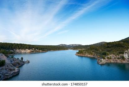 Dam lake Barrage de Bimont near Aix en Provence and Saint Victoire mountain