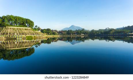 dam and merapi mountain