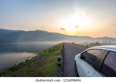 Dam with morning mist in Thailand