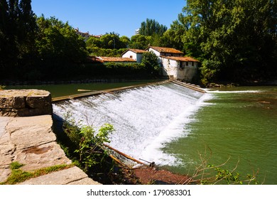 dam on Arga river. Pamplona, Navarre