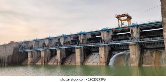 The dam on Bennethora Reservoir, HARSUR DAM, Karnataka, India - Jan 13, 2021