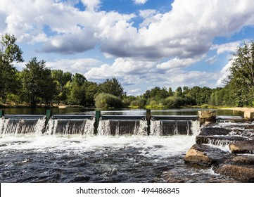 dam on the river, falling water to open the floodgates