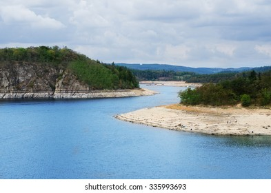 Dam Orlik during dry summer  season, Czech republic