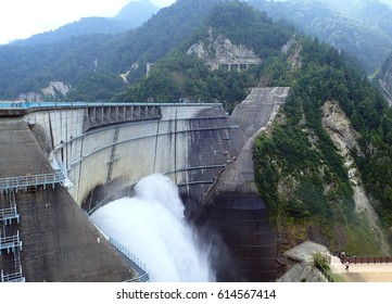 Dam released water, Kurobe Dam at Japan