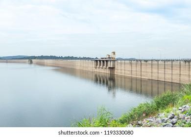 Dam ridge of Khun Dan Prakan Chon dam (Khlong Tha Dan Dam) is the largest biggest dam in Thailand